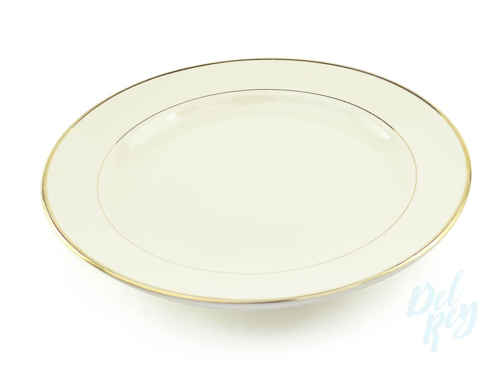 Dinner Plate 10.5 – Ivory with gold border